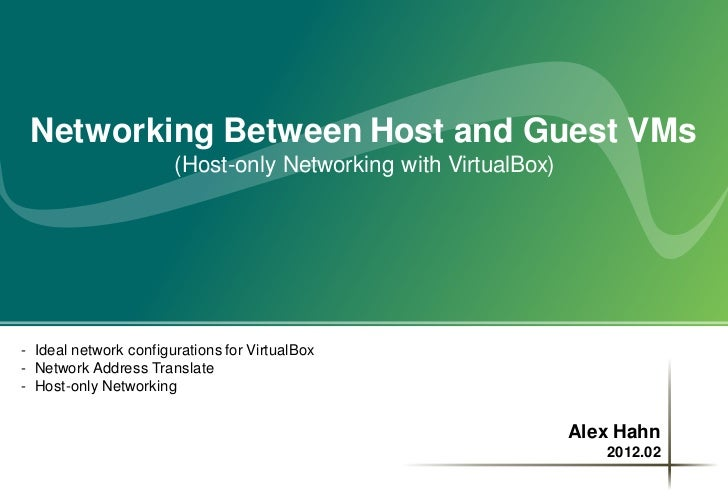 Networking Between Host and Guest VMs                       (Host-only Networking with VirtualBox)- Ideal network configur...