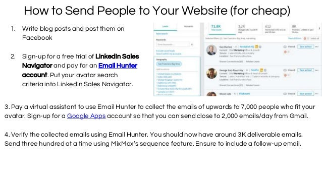 How to Send People to Your Website (for cheap) 1. Write blog posts and post them on Facebook 2. Sign-up for a free trial o...