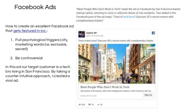 Facebook Ads How to create an excellent Facebook ad that gets featured in Inc.: 1. Pull psychological triggers (city, mark...