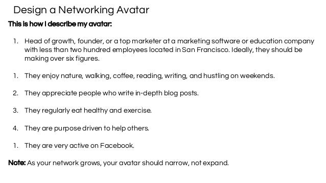 Design a Networking Avatar This is how I describe my avatar: 1. Head of growth, founder, or a top marketer at a marketing ...