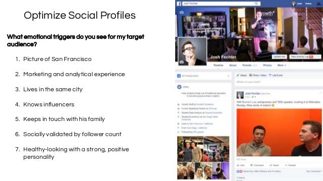 Optimize Social Profiles What emotional triggers do you see for my target audience? 1. Picture of San Francisco 2. Marketi...