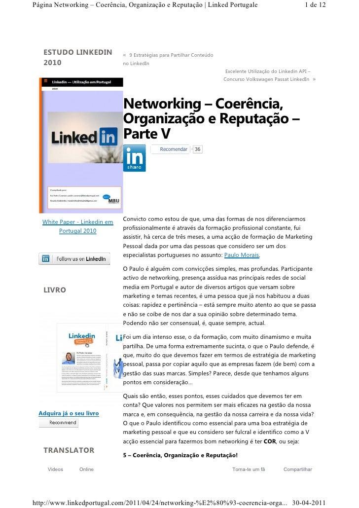 Página Networking – Coerência, Organização e Reputação | Linked Portugale                                   1 de 12   ESTU...