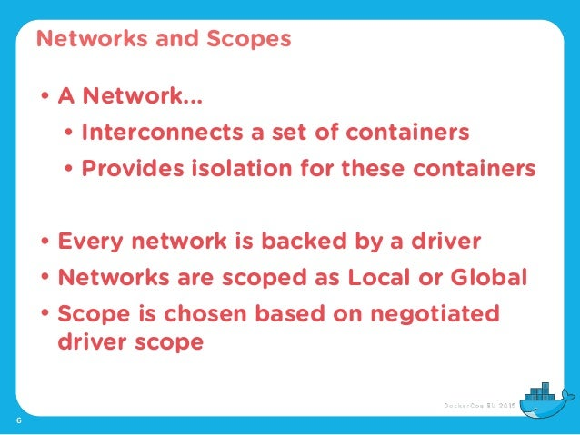 6 • A Network... • Interconnects a set of containers • Provides isolation for these containers • Every network is backed b...
