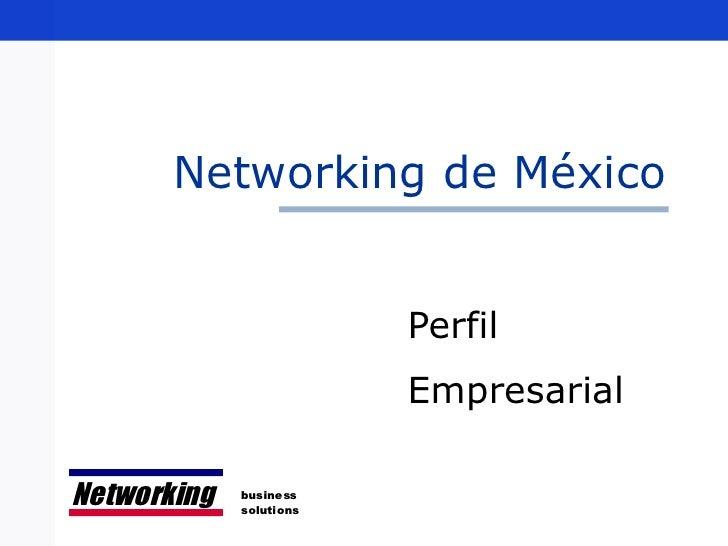 Networking de México Perfil  Empresarial