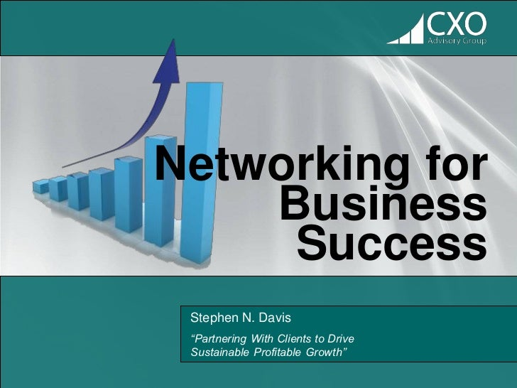 """Networking for    Business     Success Stephen N. Davis """"Partnering With Clients to Drive Sustainable Profitable Growth"""""""