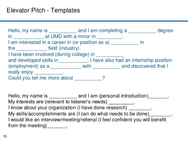 Elevator Pitch Example For College Students  Ex