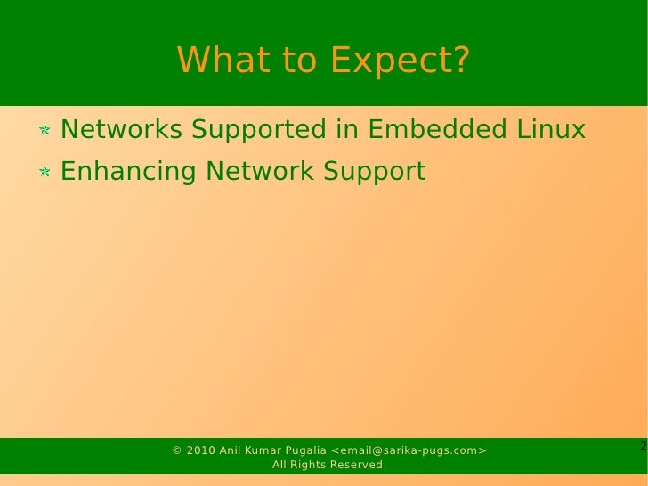Networking in Embedded Linux Slide 2
