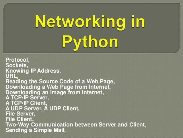 Networking in python by Rj