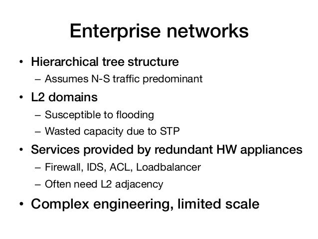 Enterprise networks!• Hierarchical tree structure!   – Assumes N-S traffic predominant• L2 domains!   – Susceptible to ...