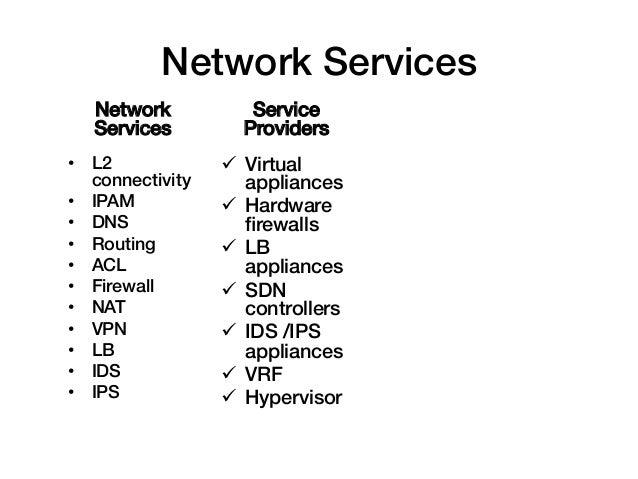Network Services!    Network           Service    Services!        Providers!• L2              ü Virtual   connectivity...