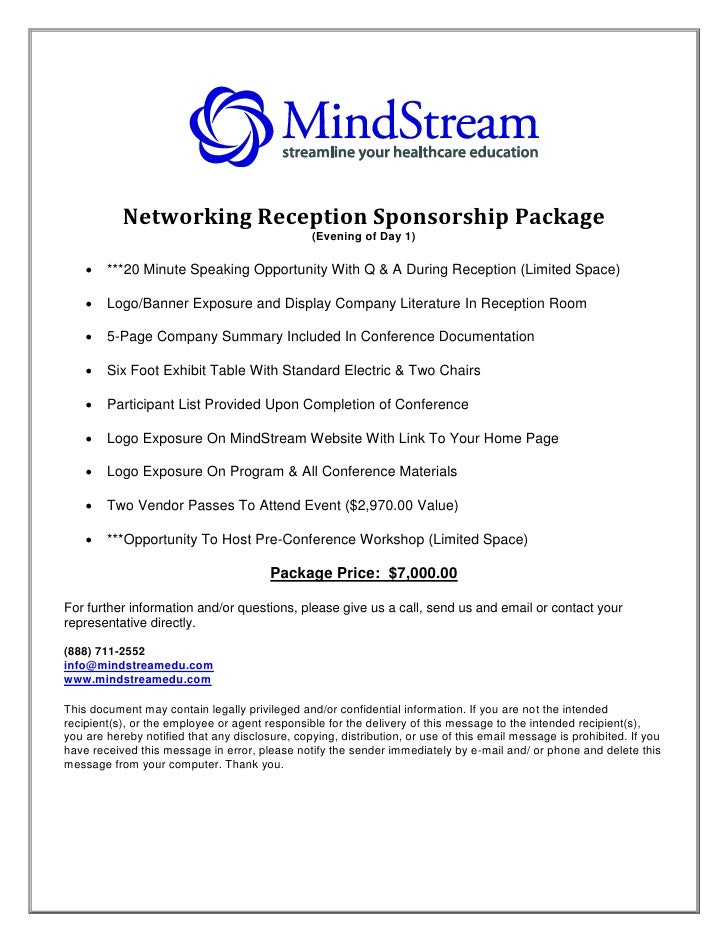 Networking Reception Sponsorship Package                                                 (Evening of Day 1)         ***20...