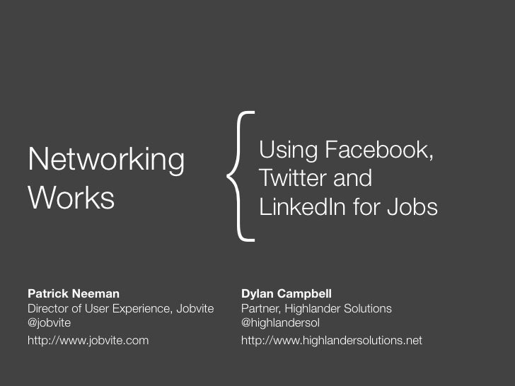 NetworkingWorks                                  {  Using Facebook,                                          Twitter and  ...