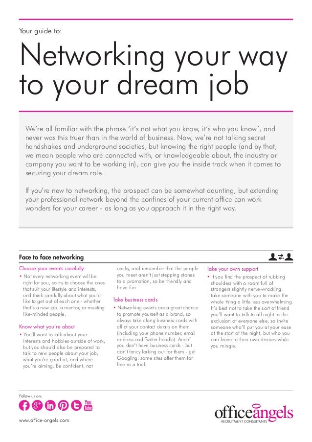 Your guide to:Networking your wayto your dream job   We're all familiar with the phrase 'it's not what you know, it's who ...