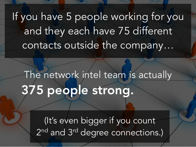 If you have 5 people working for you and they each have 75 different contacts outside the company… The network intel team ...