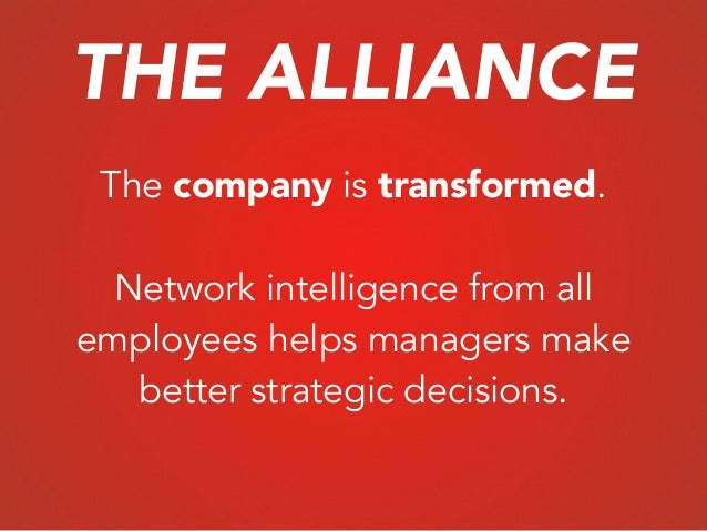 The company is transformed. ! Network intelligence from all employees helps managers make better strategic decisions. THE ...