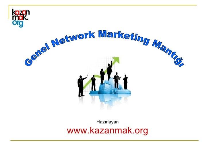 Genel Network Marketing Mantığı Hazırlayan www.kazanmak.org