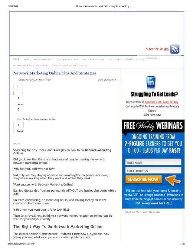 5/20/2014 Bennett Watson's Network Marketing Success Blog http://bennettwatson.com/ 1/20 Search our site... Subscribe via ...