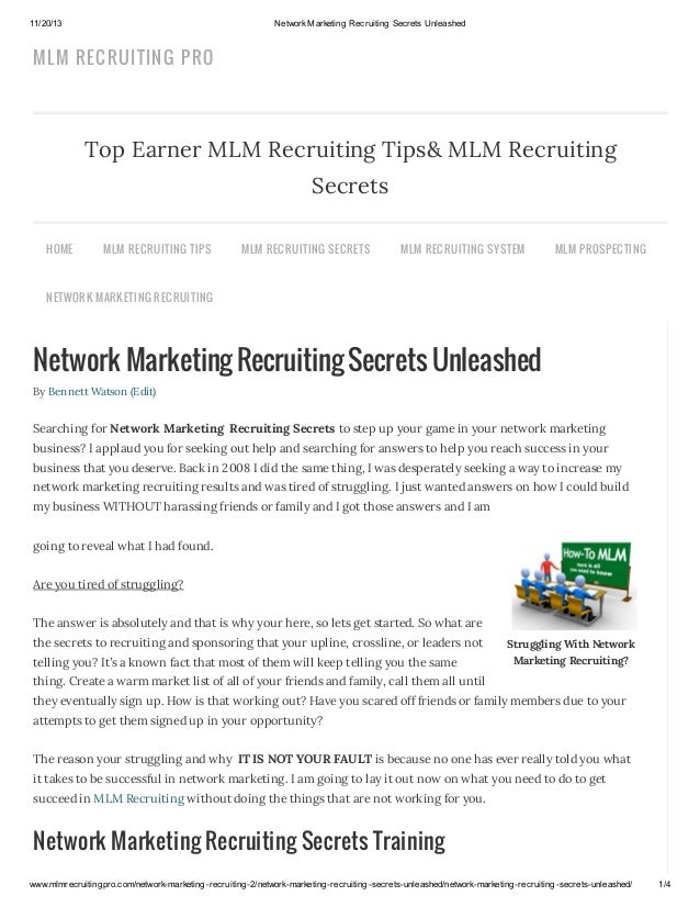 11/20/13  Network Marketing Recruiting Secrets Unleashed  MLM RECRUITIN G PRO  Top Earner MLM Recruiting Tips& MLM Recruit...