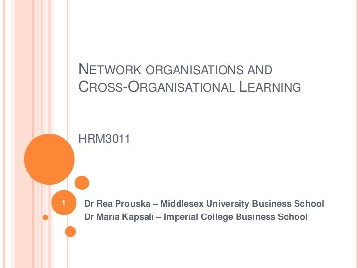 Network organisations andCross-Organisational LearningHRM3011<br />Dr Rea Prouska – Middlesex University Business School<b...