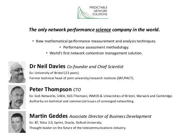 Network performance optimisation using high-fidelity measures Slide 2