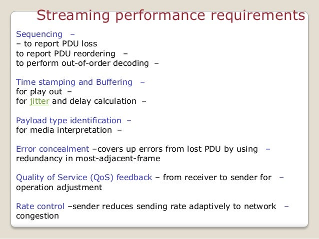 Streaming performance requirements –Sequencing – to report PDU loss –to report PDU reordering –to perform out-of-order dec...