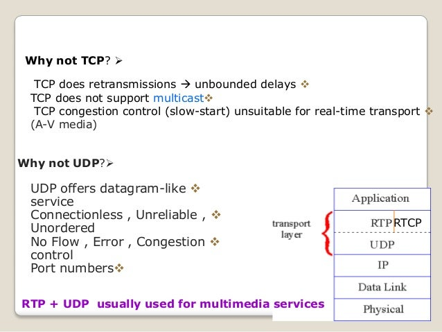 RTCP Why not UDP? UDP offers datagram-like service Connectionless , Unreliable , Unordered No Flow , Error , Congestio...