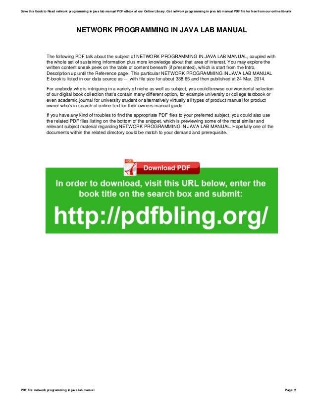 network programming in java lab manual rh slideshare net Perl Programming Book Java Distributed Computing Book