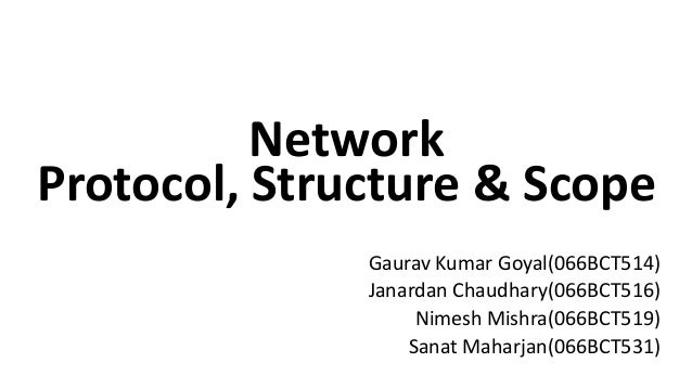 Network Protocol, Structure & Scope Gaurav Kumar Goyal(066BCT514) Janardan Chaudhary(066BCT516) Nimesh Mishra(066BCT519) S...