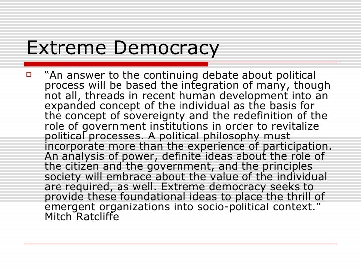 An analysis of the topic and the concept of democracy throughout the history