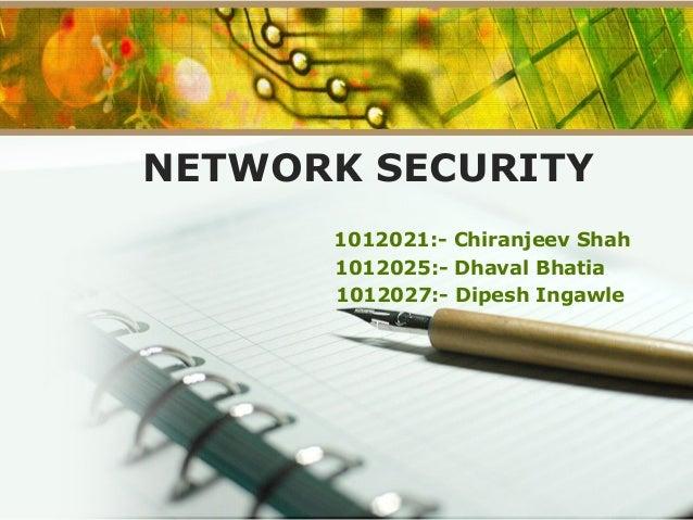 NETWORK SECURITY 1012021:- Chiranjeev Shah 1012025:- Dhaval Bhatia 1012027:- Dipesh Ingawle