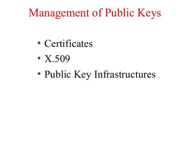 Management of Public Keys • Certificates • X.509 • Public Key Infrastructures