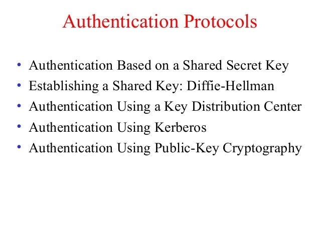 Authentication Protocols • Authentication Based on a Shared Secret Key • Establishing a Shared Key: Diffie-Hellman • Authe...