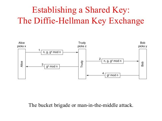 Establishing a Shared Key: The Diffie-Hellman Key Exchange The bucket brigade or man-in-the-middle attack.