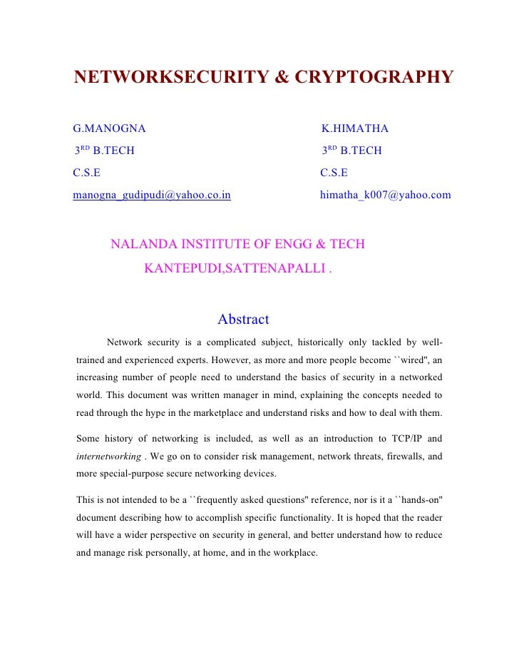 NETWORKSECURITY & CRYPTOGRAPHY  G.MANOGNA                                                      K.HIMATHA 3RD B.TECH       ...