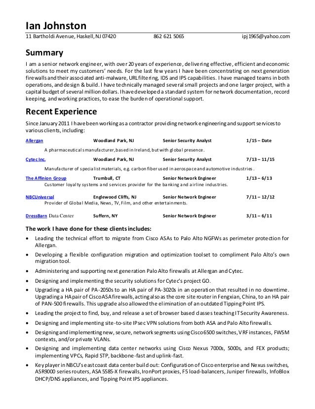 network security analyst technical resume 2016