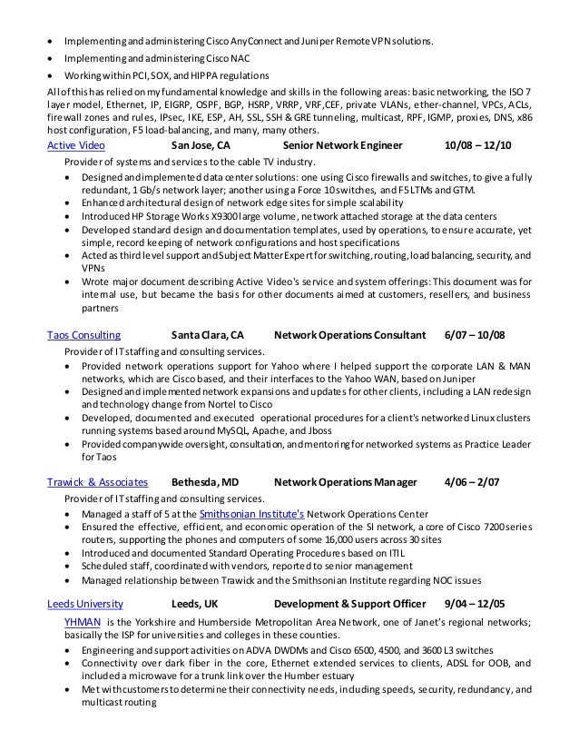 Network Security Analyst Technical Resume