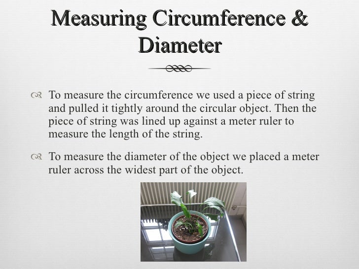 Measuring Circumference & Diameter <ul><li>To measure the circumference we used a piece of string and pulled it tightly ar...