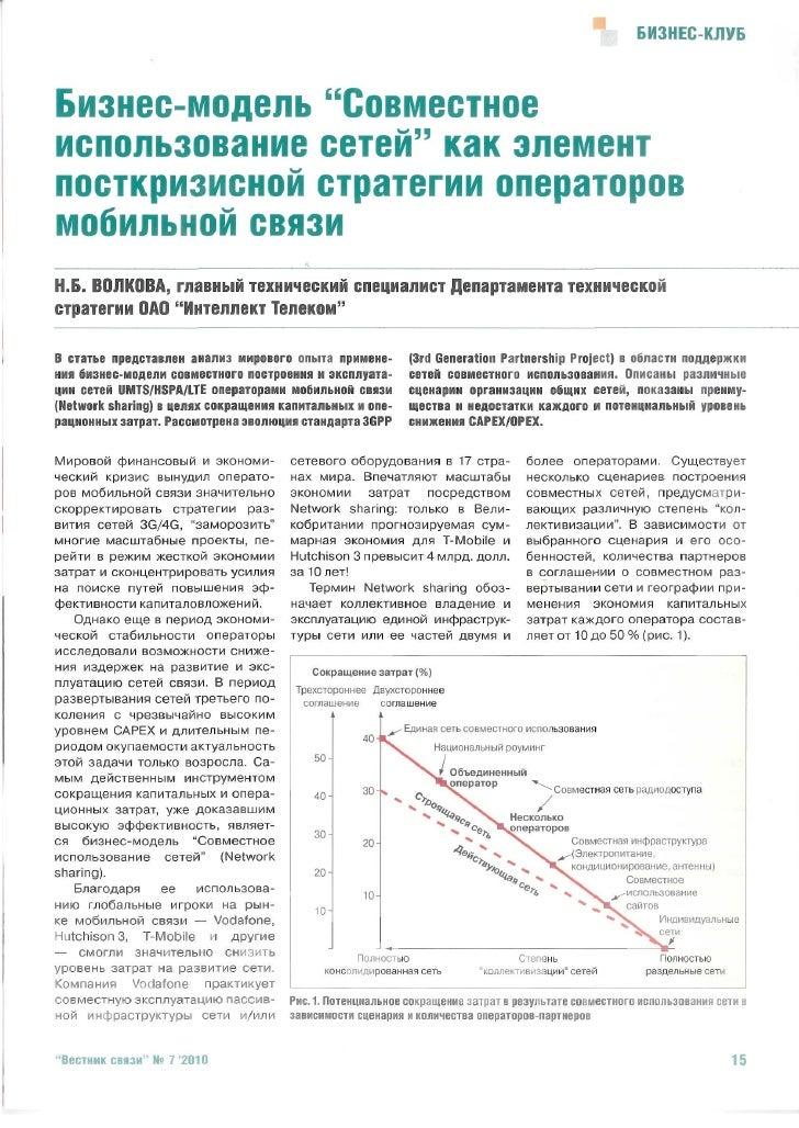 """Бизнес-модель """"Совместное использование сетей""""  как элемент посткризисной стратегии операторов мобильной связи"""