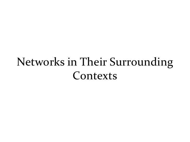 Networks in Their Surrounding           Contexts