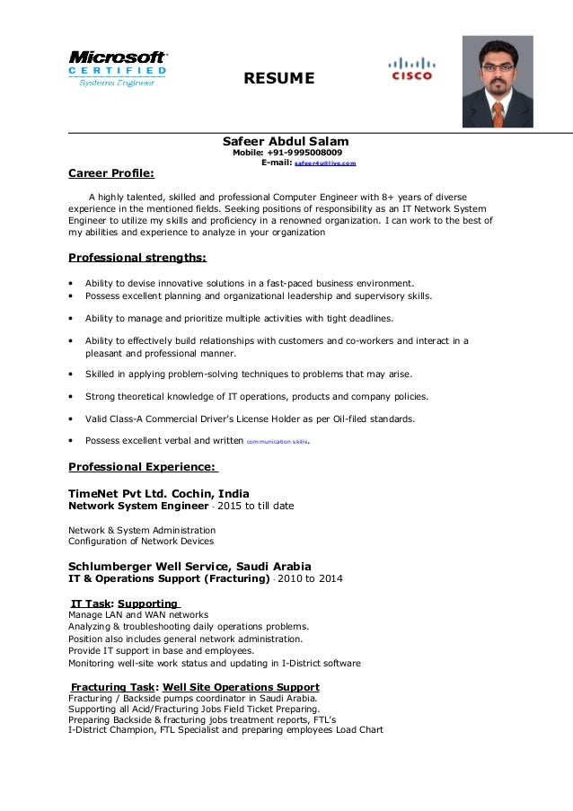 network system engineer resume resume safeer abdul salam mobile 91 9995008009 e mail safeer4u