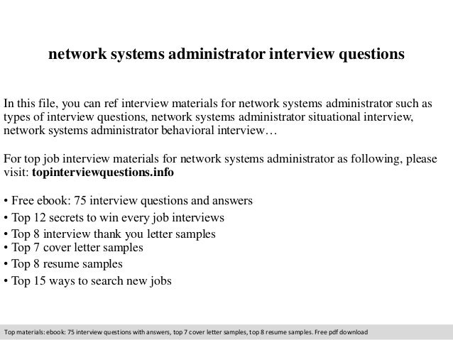 Network systems administrator interview questions