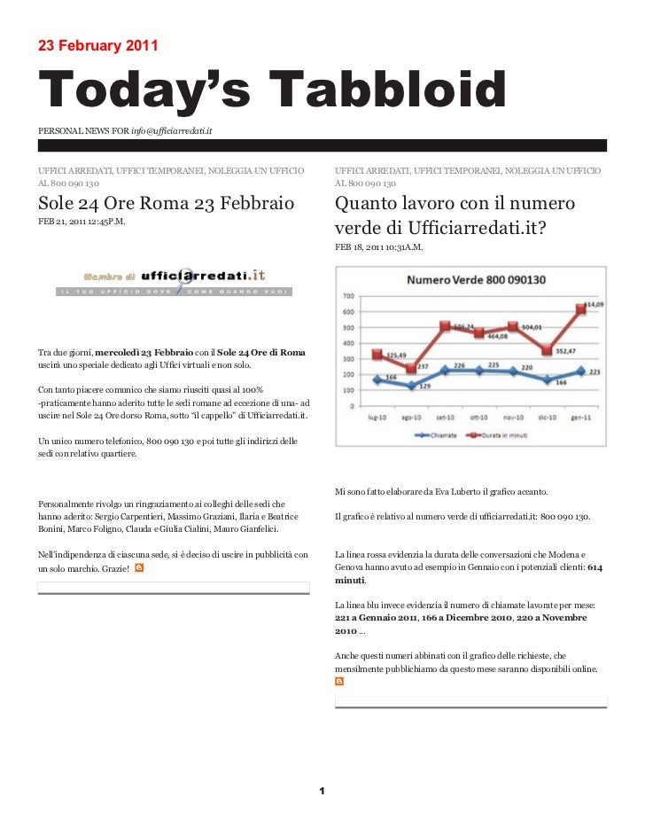 23 February 2011Today's TabbloidPERSONAL NEWS FOR info@ufficiarredati.itUFFICI ARREDATI, UFFICI TEMPORANEI, NOLEGGIA UN UF...