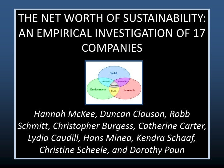 THE NET WORTH OF SUSTAINABILITY:AN EMPIRICAL INVESTIGATION OF 17          COMPANIES    Hannah McKee, Duncan Clauson, RobbS...