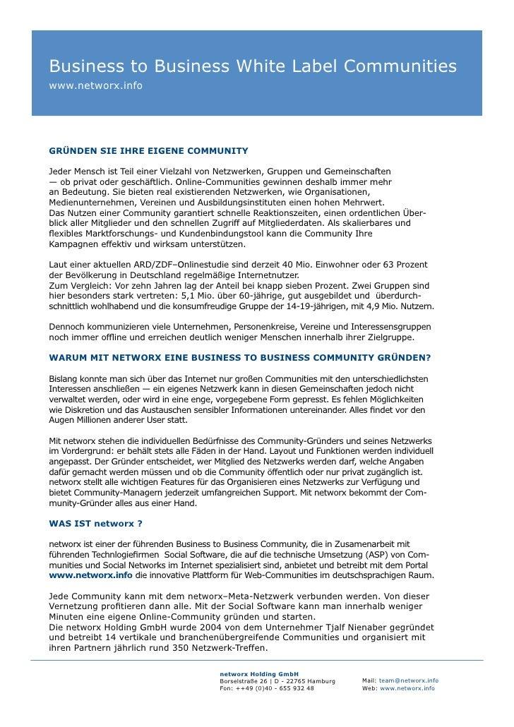 Business to Business White Label Communities www.networx.info     GRÜNDEN SIE IHRE EIGENE COMMUNITY  Jeder Mensch ist Teil...