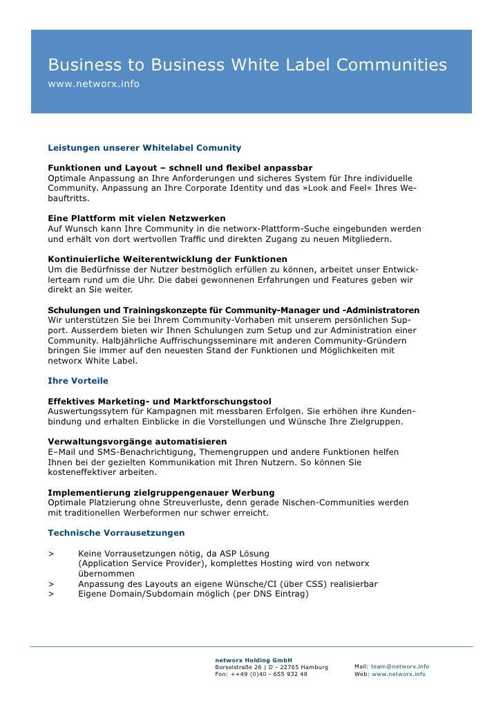 Business to Business White Label Communities www.networx.info     Leistungen unserer Whitelabel Comunity  Funktionen und L...