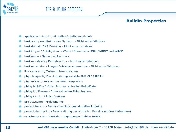 BuildIn Properties        application.startdir / Aktuelles Arbeitsverzeichnis      host.arch / Architektur des Systems – N...