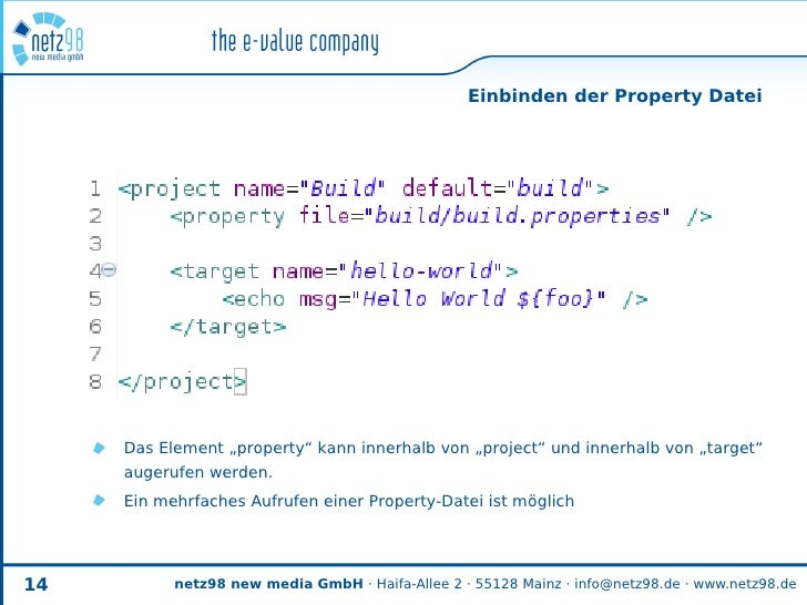 """Einbinden der Property Datei          Das Element """"property"""" kann innerhalb von """"project"""" und innerhalb von """"target""""      ..."""
