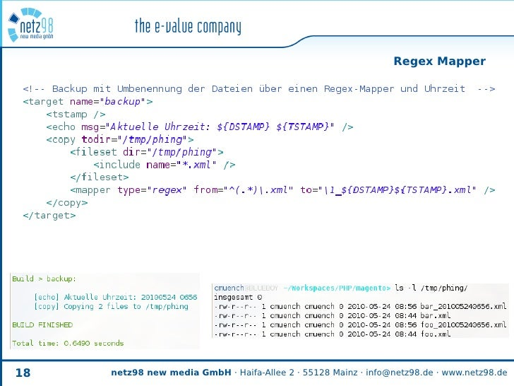 Regex Mapper     18   netz98 new media GmbH · Haifa-Allee 2 · 55128 Mainz · info@netz98.de · www.netz98.de