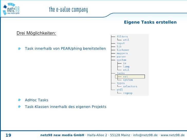 Eigene Tasks erstellen       Drei Möglichkeiten:            Task innerhalb von PEAR/phing bereitstellen              AdHoc...