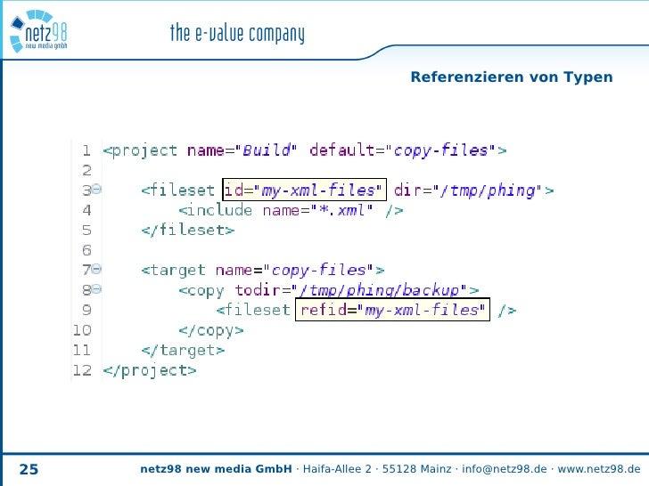 Referenzieren von Typen     25   netz98 new media GmbH · Haifa-Allee 2 · 55128 Mainz · info@netz98.de · www.netz98.de